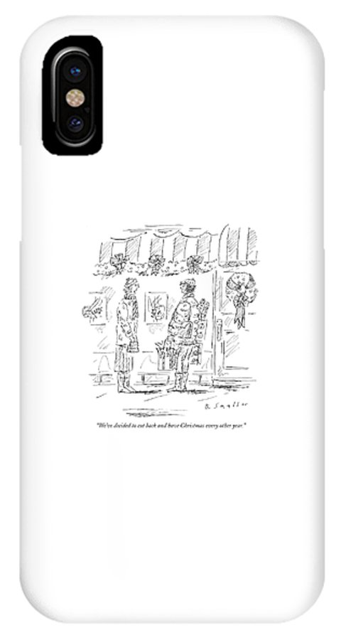 Holidays Christmas Money Shopping Consumerism  (one Woman Talking To Another Carrying Shopping Bags.)120190 Bsm Barbara Smaller IPhone X Case featuring the drawing We've Decided To Cut Back And Have Christmas by Barbara Smaller