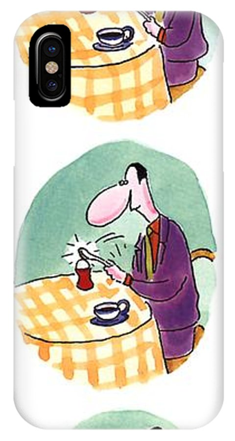 Whack! (three Panels In Which A Man Breaks Open A Soft-boiled Egg And A Dizzy Baby Chick Stumbles Out) Dining IPhone X Case featuring the drawing Whack! by Arnie Levin