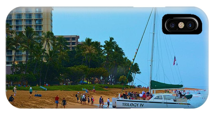 Boat IPhone X Case featuring the photograph Whale Watchers On Maui by Richard Jenkins