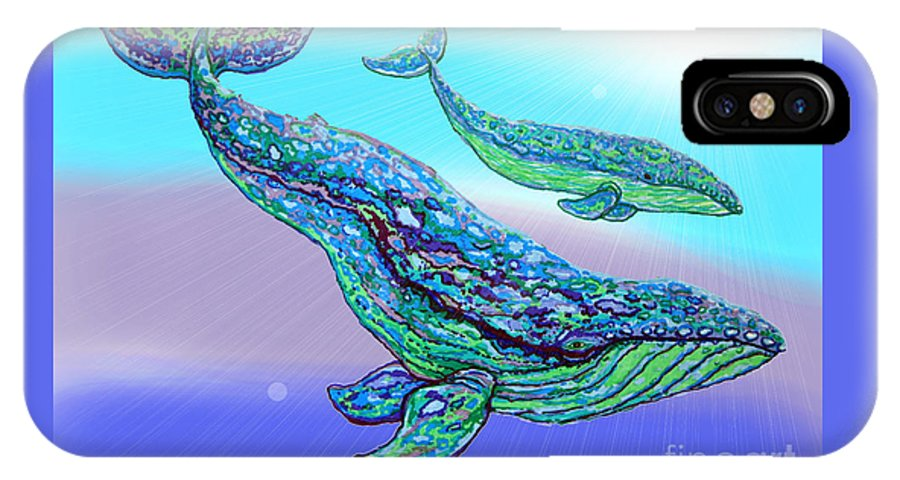 Whale IPhone X Case featuring the drawing Whales by Nick Gustafson