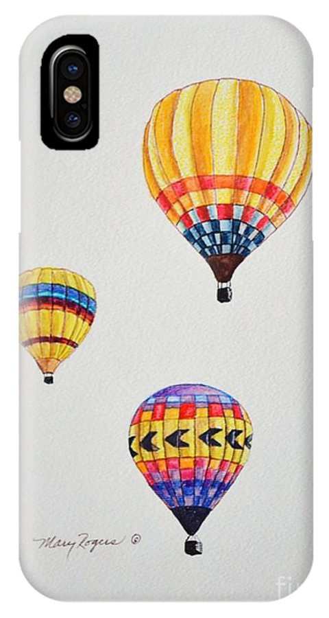 Balloons IPhone X Case featuring the drawing What A Feeling by Mary Rogers