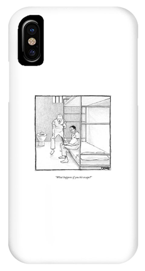 Prisons IPhone X Case featuring the drawing What Happens If You Hit Escape? by Matthew Diffee