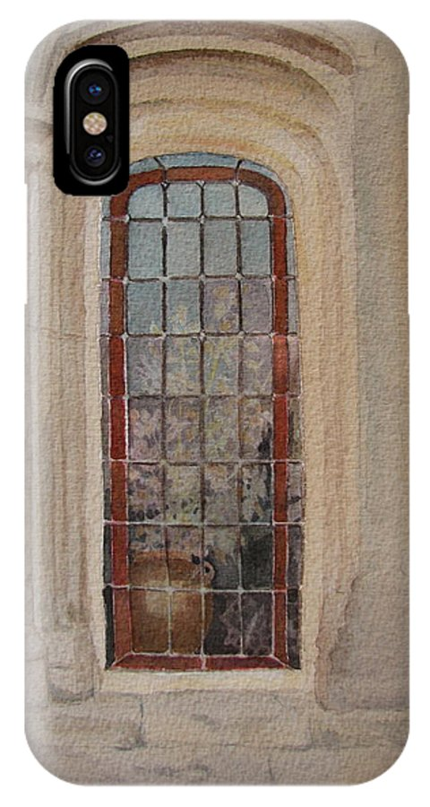 Window IPhone X Case featuring the painting What Is Behind The Window Pane by Mary Ellen Mueller Legault