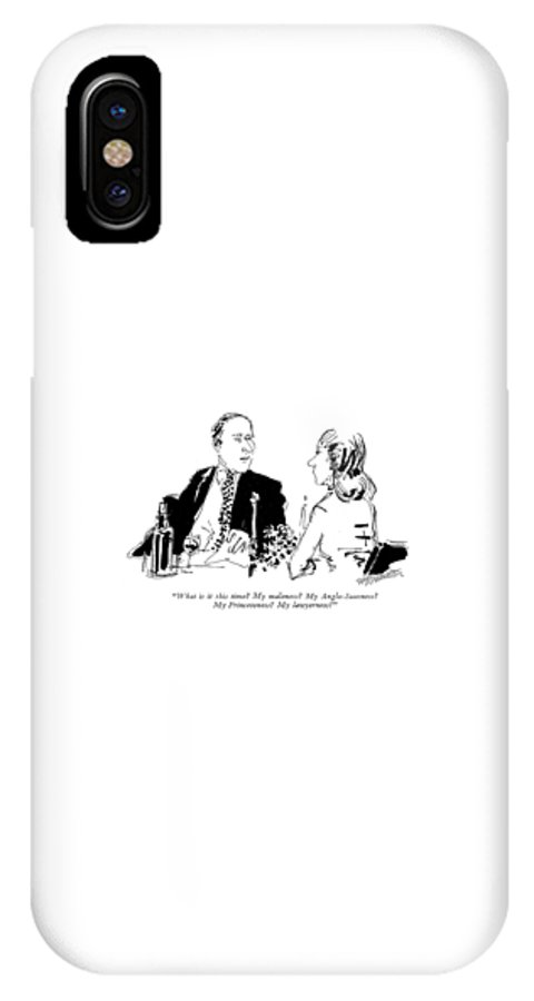 (husband To Wife During Dinner.) Relationships IPhone X Case featuring the drawing What Is It This Time? My Maleness? by William Hamilton