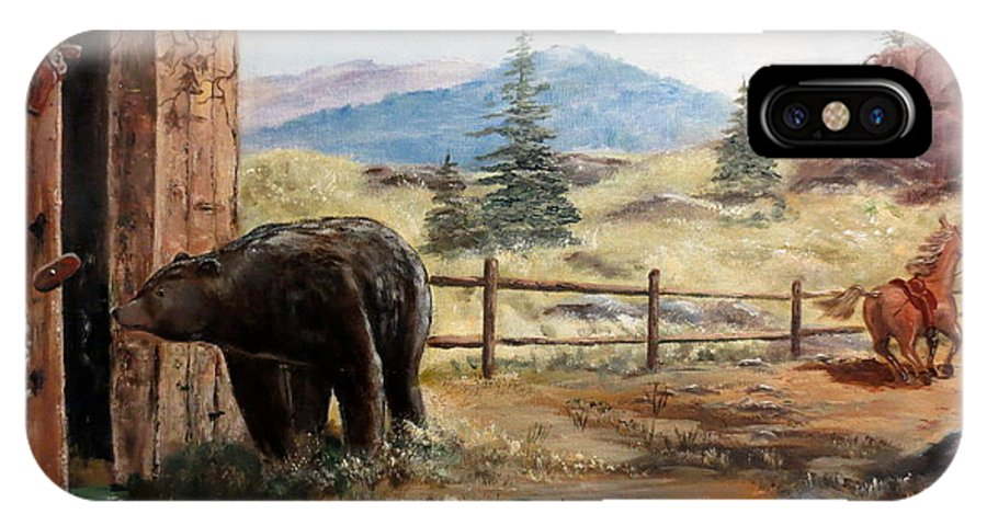 Bear IPhone X Case featuring the painting What Now by Lee Piper