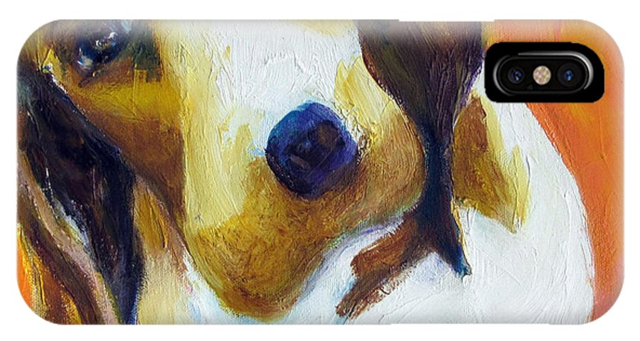 Puppy IPhone X Case featuring the painting What'd You Say by Patricia Curtis