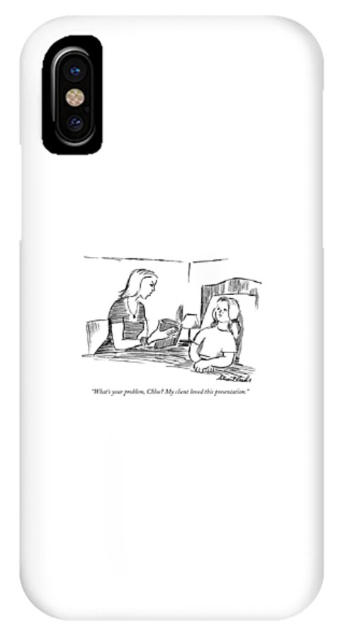 Presentation IPhone X Case featuring the drawing What's Your Problem by Stuart Leeds