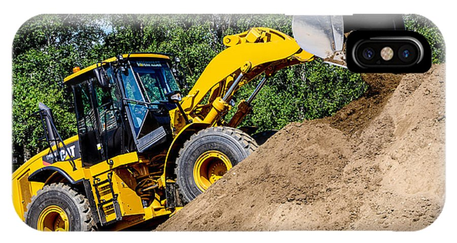 Wheel Loader IPhone X Case featuring the photograph Wheel Loader Construction Site by Gary Whitton