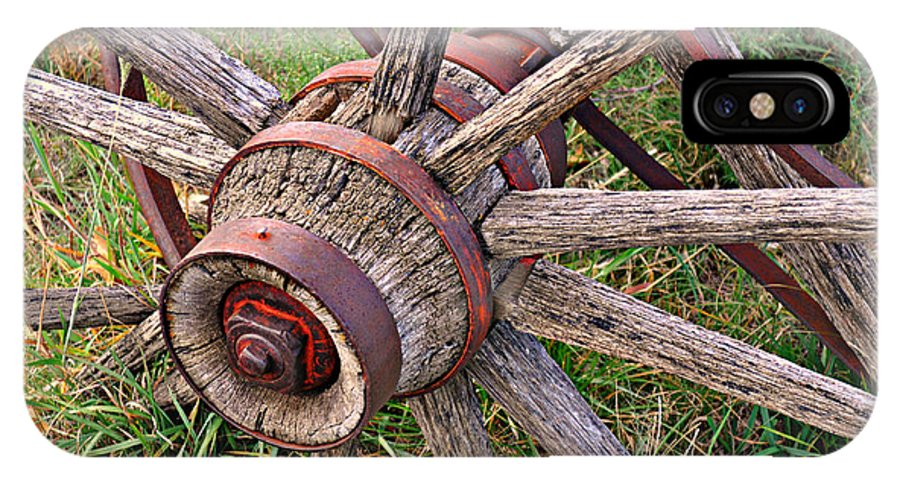 Wagon Wheel IPhone X Case featuring the photograph Wheel Of Old by Marty Koch