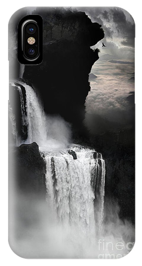 Waterfall IPhone X Case featuring the digital art When Darkness Falls by Lynn Jackson