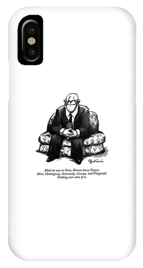(a Rather Unhappy-looking Man Sits On A Sofa With His Hands Folded) Psychology IPhone X Case featuring the drawing While He Was In Paris by Eldon Dedini