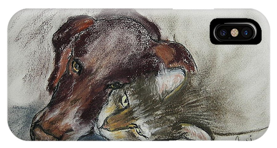 Dog IPhone Case featuring the drawing Whisker To Whisker by Cori Solomon