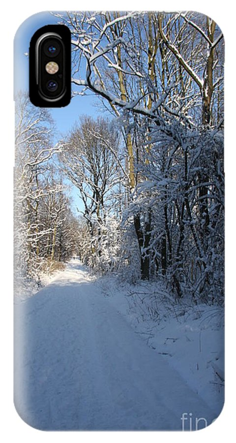 Winter IPhone X Case featuring the photograph White And Blue by Christiane Schulze Art And Photography