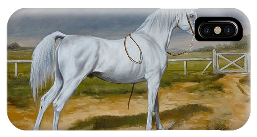 Horse IPhone X Case featuring the painting White Arabian Stallion by Irek Szelag