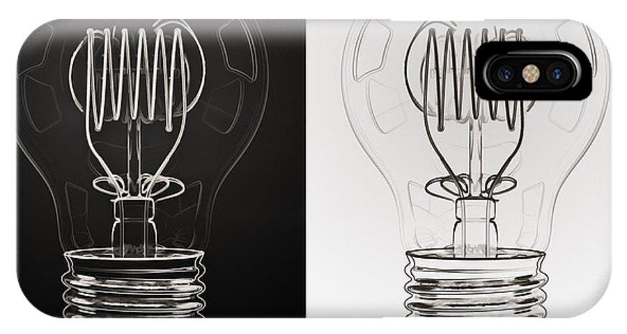 Bulb IPhone X Case featuring the digital art White Bulb Black Bulb by Scott Norris