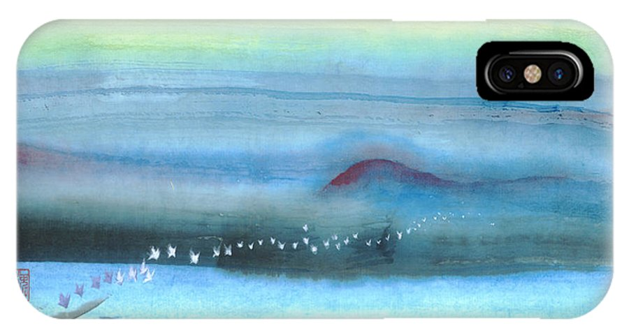 A Flight Of White Butterflies Is Floating On The River Bank Under The Full Moon. This Is A Contemporary Chinese Ink And Color On Rice Paper Painting With Simple Zen Style Brush Strokes.  IPhone X Case featuring the painting White Butterflies by Mui-Joo Wee