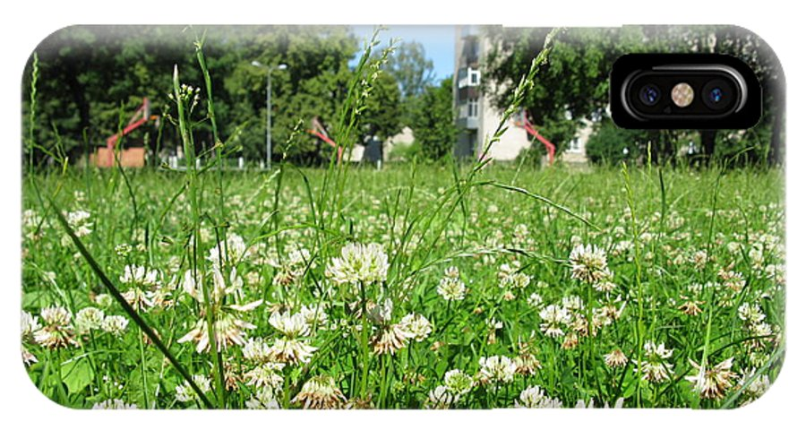 Landscape IPhone X Case featuring the photograph White Clover Field And The Playground by Ausra Huntington nee Paulauskaite