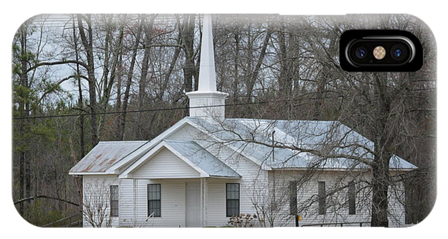 Stained Glass IPhone X Case featuring the photograph White Country Church Series Photo B by Barb Dalton
