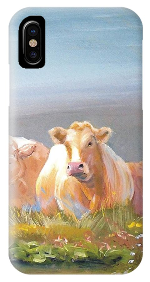 Cow IPhone X Case featuring the painting White Cows Painting by Mike Jory