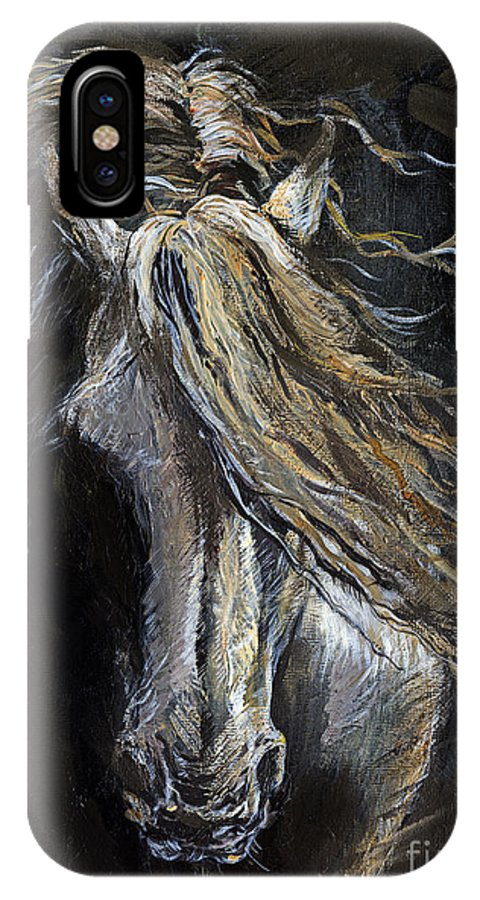 Horse IPhone X Case featuring the painting White Ghost by Angel Ciesniarska