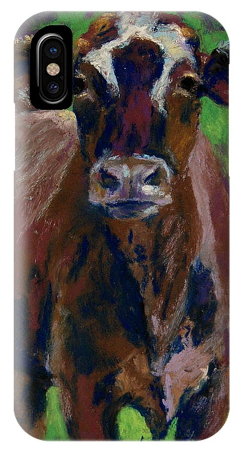 Cow IPhone X Case featuring the painting White Horseshoe by Lisa Pope