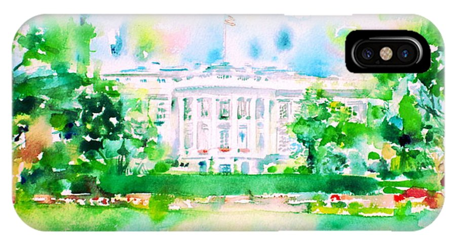 White House IPhone X Case featuring the painting White House - Watercolor Portrait by Fabrizio Cassetta