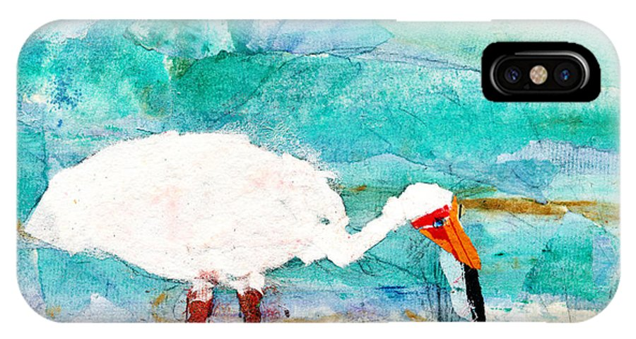 White Ibis IPhone X Case featuring the painting White Ibis by Janet Gunderson