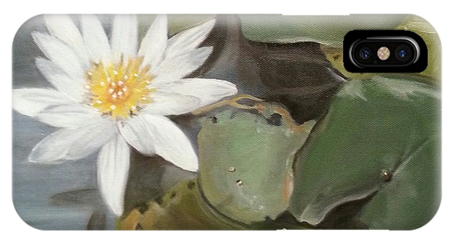 Lotus IPhone X Case featuring the painting White Lotus by Linda Lopez