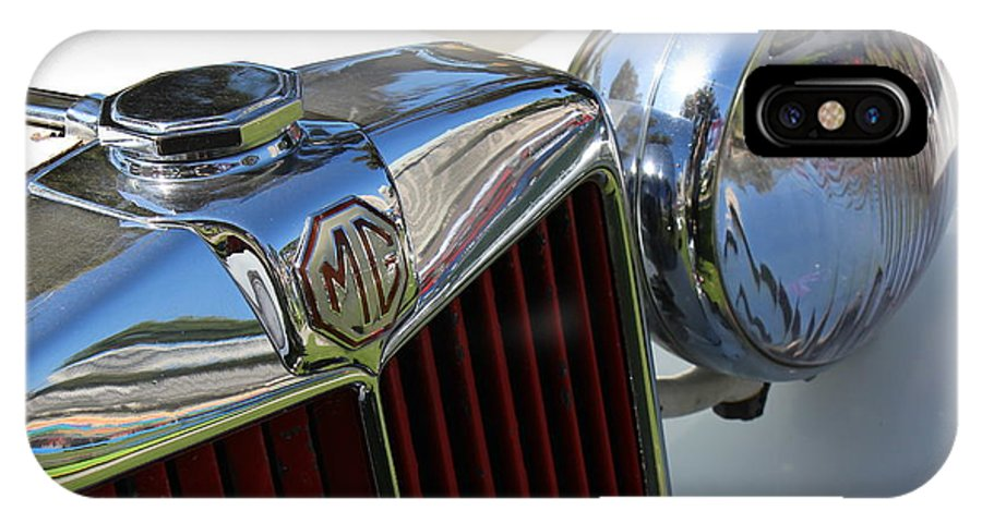Automobile IPhone X Case featuring the photograph White Mg With Red Grille by Mark Steven Burhart