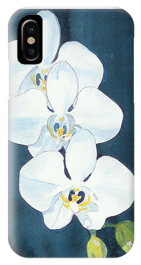 C Sitton Painting Paintings IPhone X Case featuring the painting White Orchids by C Sitton