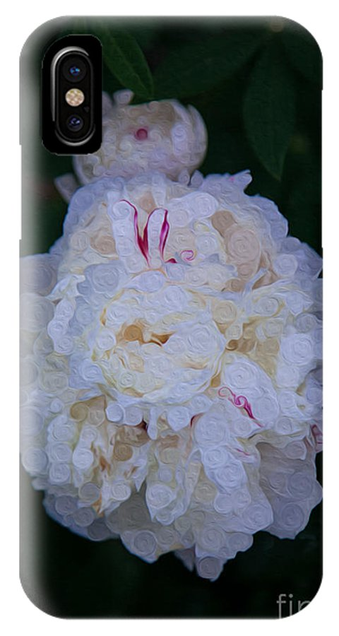 5x7 IPhone X Case featuring the painting White Peony And Companion Abstract Flower Painting by Omaste Witkowski