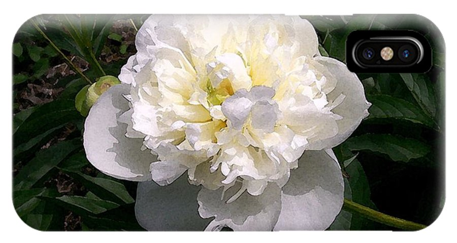 White IPhone X Case featuring the photograph White Peony Watercolor Effect by Laurie Eve Loftin