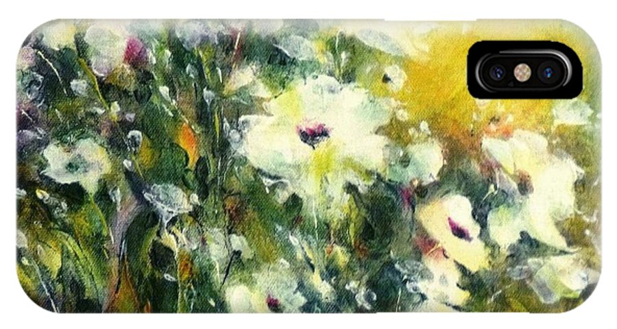 Canvas Prints IPhone X Case featuring the painting White Poppy Garden II by Madeleine Holzberg