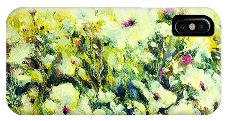 Flowers IPhone Case featuring the painting White Poppy Garden by Madeleine Holzberg