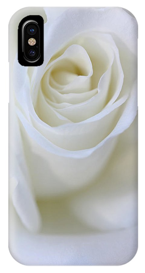 Rose IPhone X Case featuring the photograph White Rose Floral Whispers by Jennie Marie Schell