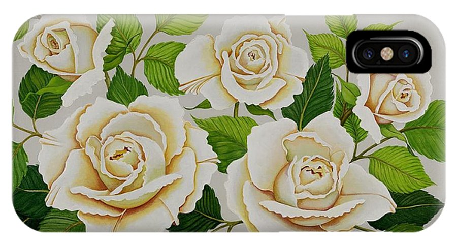 Rose IPhone X Case featuring the painting White Roses by Carol Sabo