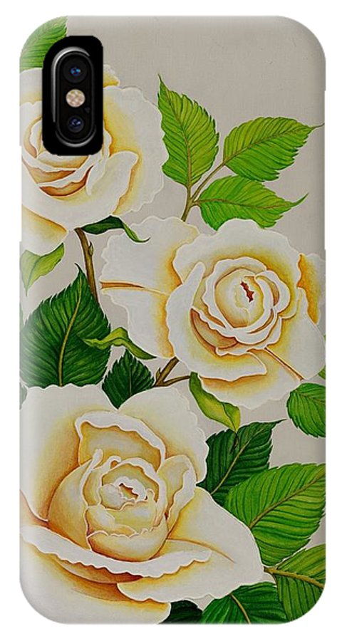 White Roses With Yellow Shading On A White Background. IPhone X / XS Case featuring the painting White Roses - Vertical by Carol Sabo