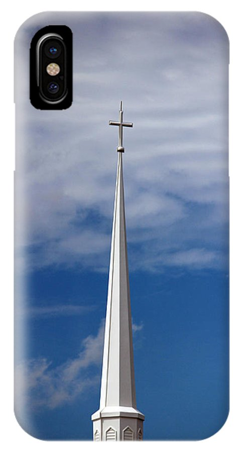 Steeple IPhone X Case featuring the photograph White Steeple by Cynthia Guinn