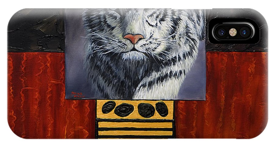 Animal IPhone Case featuring the painting White Tiger by Darice Machel McGuire