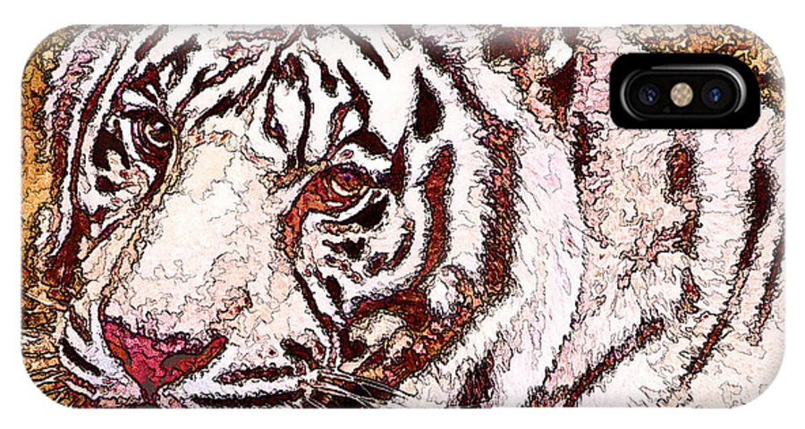 White Tiger IPhone X Case featuring the photograph White Tiger Twist by Cathy Donohoue