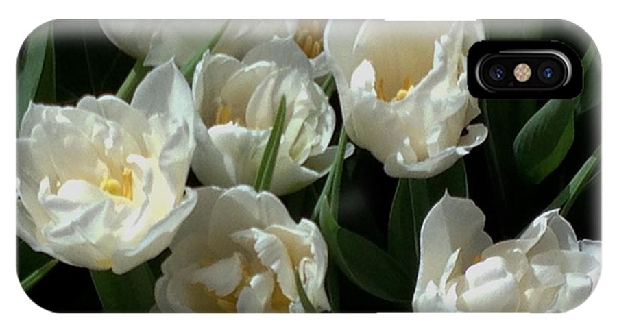 Garden IPhone X Case featuring the photograph White Tulips In The Garden by Jan Moore