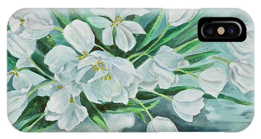 White Tulips IPhone X Case featuring the painting White Tulips by Virginia Ann Hemingson