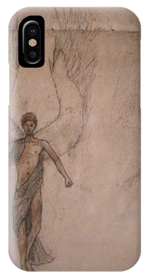 Angel IPhone X Case featuring the drawing White Wolf Character 3 by Steve Spagnola
