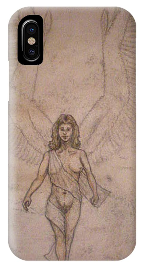 Angel IPhone X Case featuring the drawing White Wolf Character 4a by Steve Spagnola