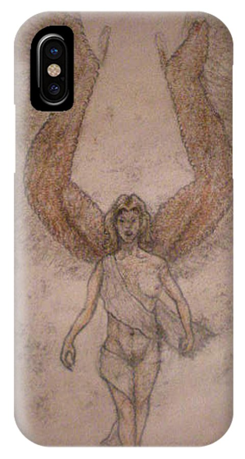 Angel IPhone X Case featuring the drawing White Wolf Character 4b by Steve Spagnola