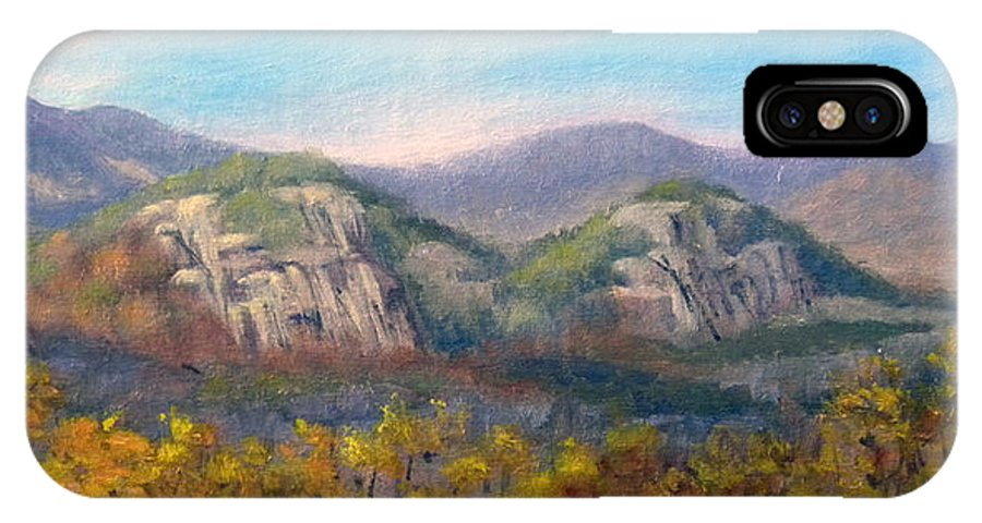 Landscape IPhone X Case featuring the painting Whitehorse And Cathedral Ledges From The Red Jacket Inn by Sharon E Allen