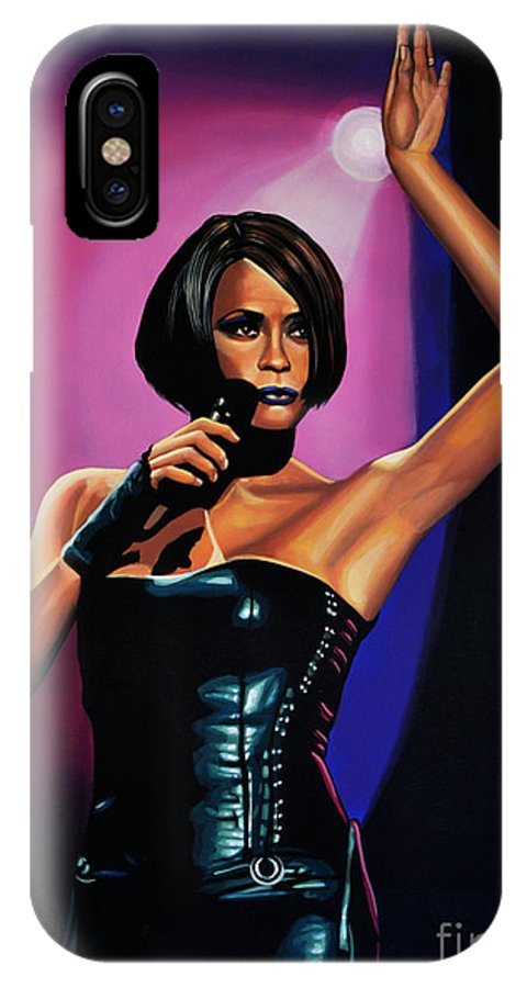 Whitney Houston IPhone X Case featuring the painting Whitney Houston On Stage by Paul Meijering