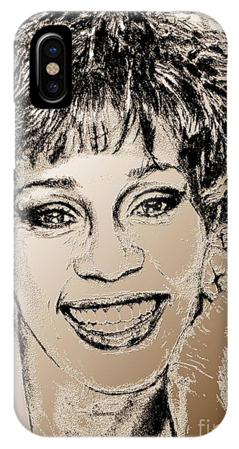 Whitney IPhone X Case featuring the digital art Whitney Houston In 1992 by J McCombie