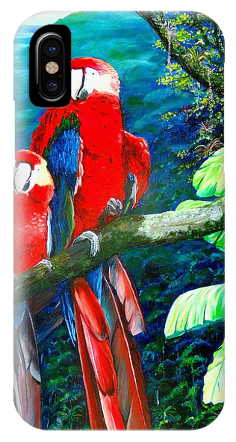 Caribbean Painting Green Wing Macaws Red Mountains Birds Trinidad And Tobago Birds Parrots Macaw Paintings Greeting Card  IPhone X Case featuring the painting Who Me  by Karin Dawn Kelshall- Best