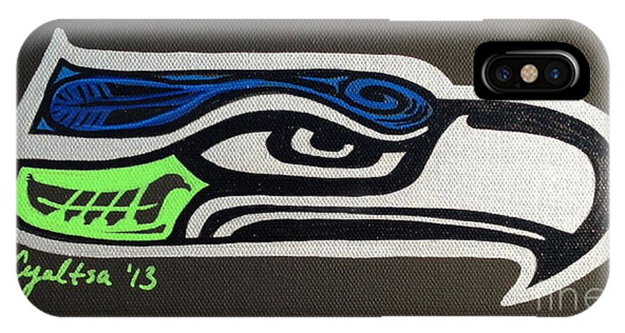 Seattle Seahawks IPhone X Case featuring the painting Who Ready by A Cyaltsa Finkbonner